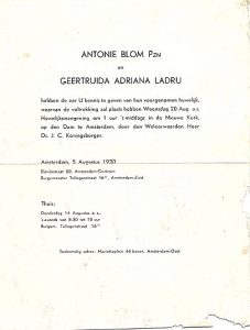 aankondiging huwelijk oom Toon en tante Truus 1930