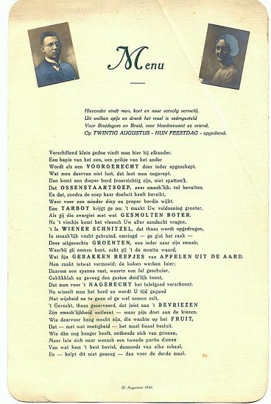 menukaart huwelijk oom Toon en tante Truus